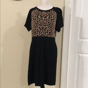 Cheetah & black sweater dress